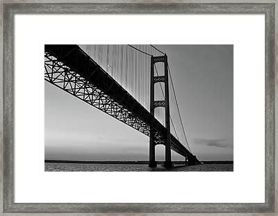 Mackinac Bridge At Sunset Framed Print