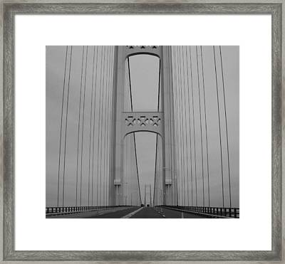 Mackinac Bridge Framed Print by Beverly Cazzell
