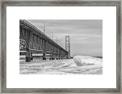 Framed Print featuring the photograph Mackinac Bridge Icy Black And White  by John McGraw