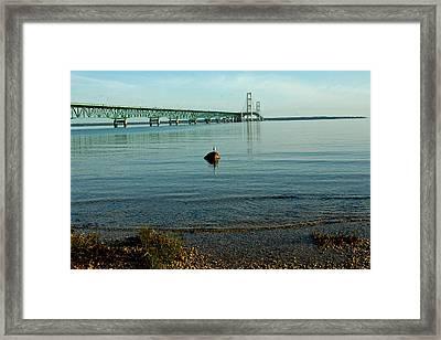 Framed Print featuring the photograph Mackinac Bridge Michigan by LeeAnn McLaneGoetz McLaneGoetzStudioLLCcom