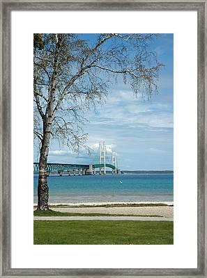 Framed Print featuring the photograph Mackinac Bridge Park by LeeAnn McLaneGoetz McLaneGoetzStudioLLCcom