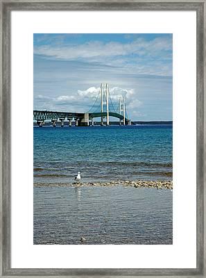 Framed Print featuring the photograph Mackinac Bridge Private Seagull Beach by LeeAnn McLaneGoetz McLaneGoetzStudioLLCcom