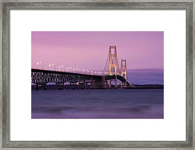 Mackinac Bridge Sunset Framed Print by James Marvin Phelps