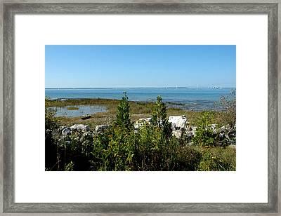 Framed Print featuring the photograph Mackinac Island View Of Bridge by LeeAnn McLaneGoetz McLaneGoetzStudioLLCcom