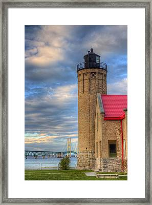 Mackinac Lighthoue And Bridge Framed Print