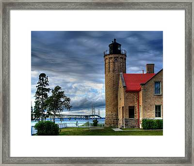 Mackinaw Bridge And Lighthouse Framed Print by Coby Cooper