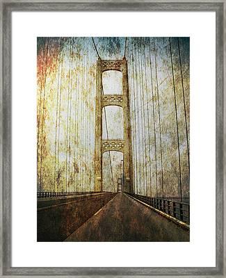 Mackinaw Bridge By The Straits Of Mackinac Framed Print by Randall Nyhof