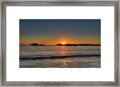 Mackinsie Beach Sun Burst Framed Print by Mark Kiver