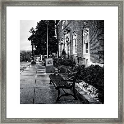 Macon County Emergency Services In Black And White Framed Print by Greg Mimbs