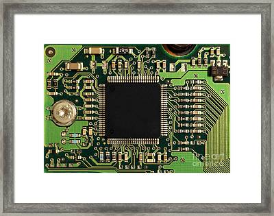 Macro Image Of A Hard Disk Controller Framed Print by Yali Shi