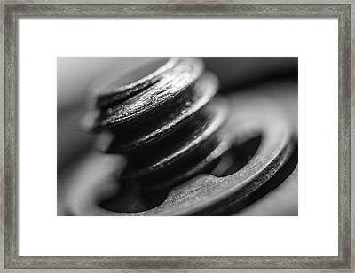 Framed Print featuring the photograph Macro Screw Bolt Black White by David Haskett