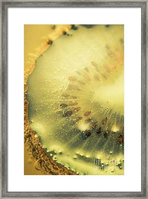 Macro Shot Of Submerged Kiwi Fruit Framed Print