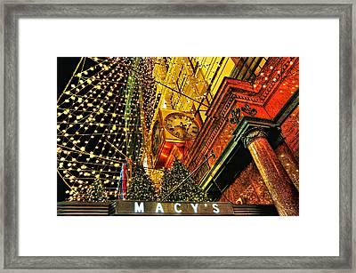 Macy's Christmas Lights Framed Print by Randy Aveille