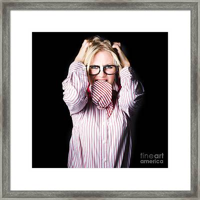 Mad And Angry Businesswoman Pulling Out Hair Framed Print