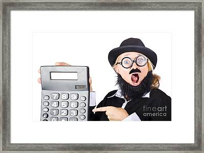 Mad Female Accountant With Calculator Framed Print