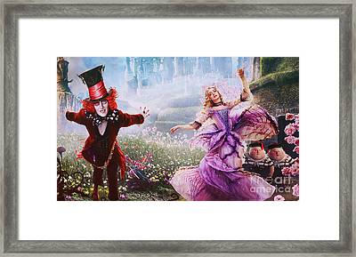 Mad Hatter And Alice Framed Print