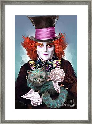 Mad Hatter And Cheshire Cat Framed Print by Melanie D