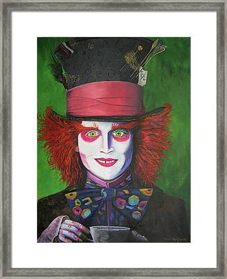 Mad Hatter Johnny D Framed Print by Charolette A Coulter