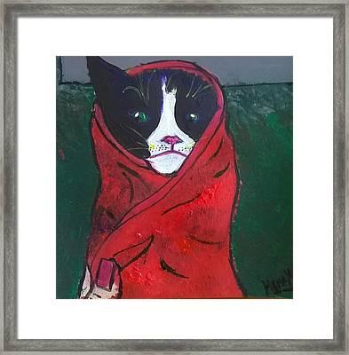 Mad Kitty Framed Print by Hema Melendez