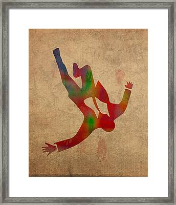 Mad Men Watercolor Silhouette Painting On Worn Parchment No 2 Framed Print by Design Turnpike