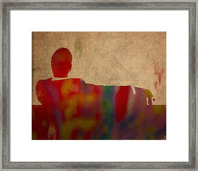 Mad Men Watercolor Silhouette Painting On Worn Parchment No 3 Framed Print by Design Turnpike