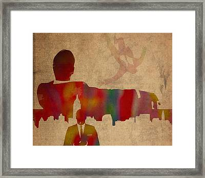 Mad Men Watercolor Silhouette Painting On Worn Parchment No 4 Framed Print by Design Turnpike