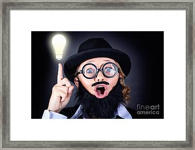 Mad Professor With Light Bulb Breakthrough Framed Print