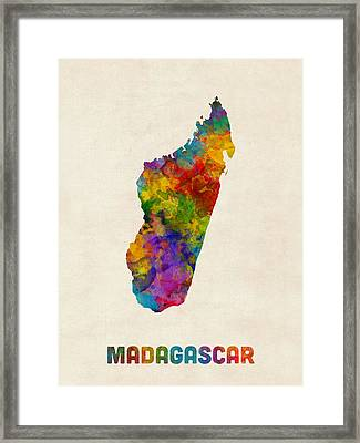 Framed Print featuring the digital art Madagascar Watercolor Map by Michael Tompsett