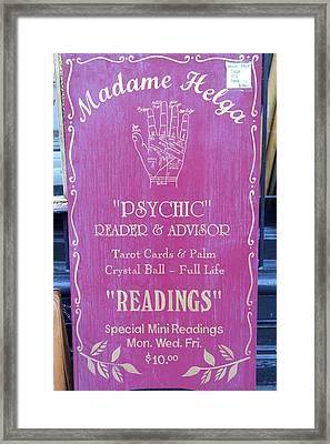 Madam Helga Psychic Sign Framed Print by Paulo Roberto Ferreira
