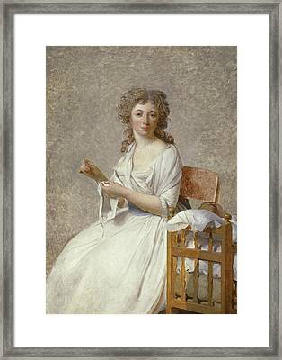 Madame De Pastoret And Her Son Framed Print by Jacques Louis David
