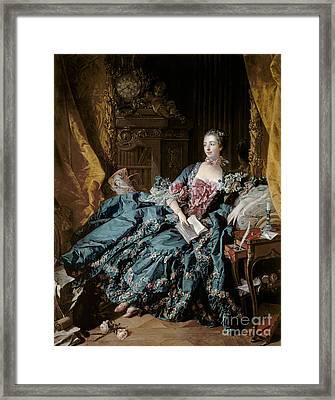 Madame De Pompadour Framed Print by Francois Boucher
