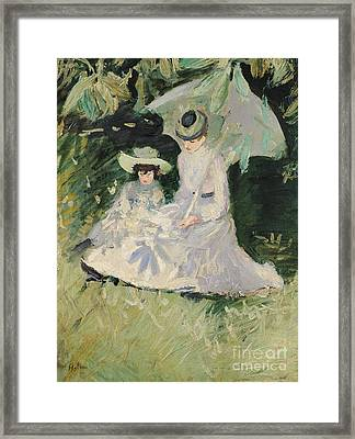 Madame Helleu And Her Daughter At The Chateau Of Boudran Framed Print by Paul Cesar Helleu