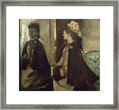 Madame Jeantaud In The Mirror Framed Print by Edgar Degas