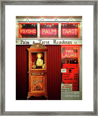 Madame Lauries Psychic Palm Tarot Fortune Be Told Closed For Holiday Please Use Atm Circa 2016 V2 Framed Print