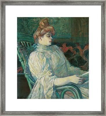 Madame Marthe X Bordeaux Framed Print by Henri de Toulouse-Lautrec
