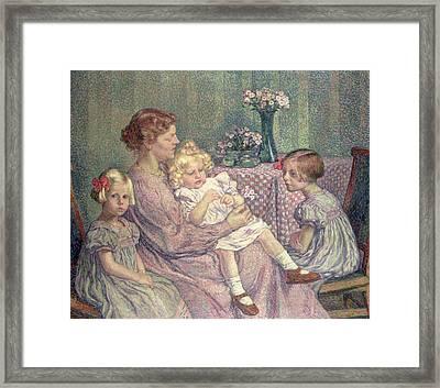 Madame Van De Velde And Her Children Framed Print by Theo van Rysselberghe