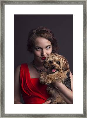 Madame With Yorky  Framed Print