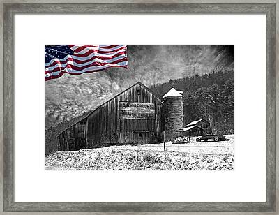 Made In America Red White And Blue Framed Print by John Stephens