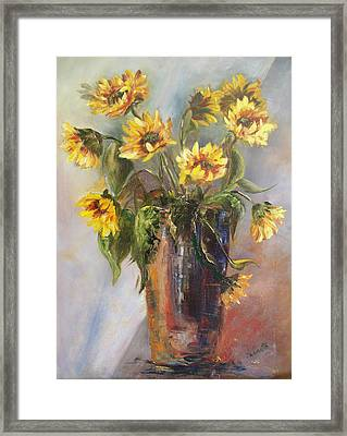 Madelaine's Sunflowers Framed Print by Jeanette Fowler