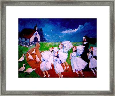 Madeleine's Red Shoes Framed Print