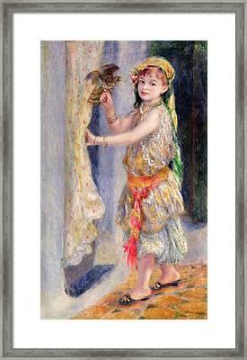 Mademoiselle Fleury In Algerian Costume Framed Print by Pierre Auguste Renoir