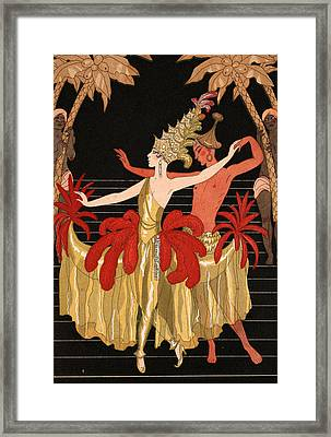 Mademoiselle Sorel At The Grand Prix Ball Framed Print by Georges Barbier