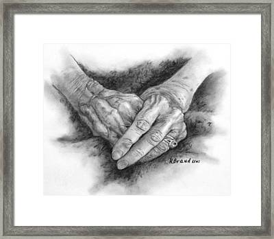 Madges Hands Framed Print by Kathy Braud