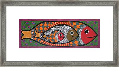Madhubani Triple Fish Inside Fish Trible Painting Folk Artwork Miniature Artwork India.  Framed Print