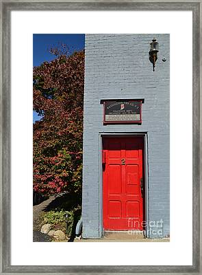 Madison Red Fire House Door Framed Print by Amy Lucid