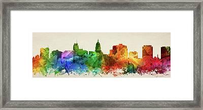 Madison Skyline Panorama Uswima-pa03 Framed Print