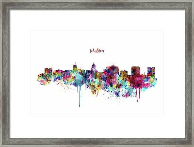 Framed Print featuring the mixed media Madison Skyline Silhouette by Marian Voicu