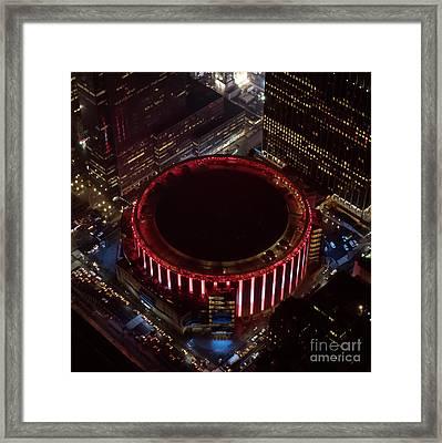Madison Square Garden Aerial Framed Print by David Oppenheimer