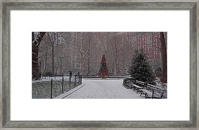 Madison Square Park In The Snow At Christmas Framed Print by Chris Lord