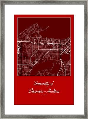 Madison Street Map - University Of Wisconsin-madison Madison Map Framed Print